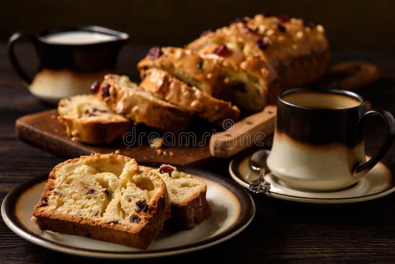 Hemlagat sött bröd släntrar med tranbär och vit choklad royaltyfria bilder