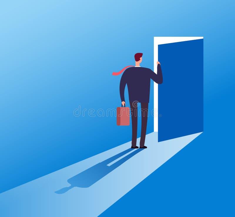 Hemlig dörr för affärsmanöppning Tillfälle tillgängligt skriva in Risklösning och begrepp för ledarskapaffärsvektor royaltyfri illustrationer
