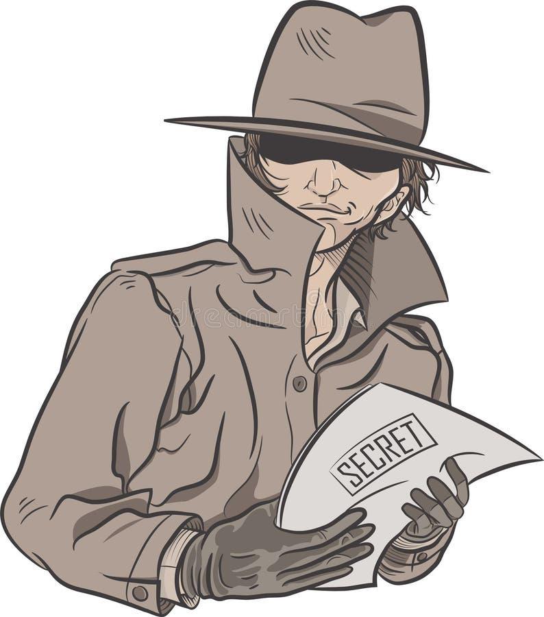 Hemlig kriminalare stock illustrationer