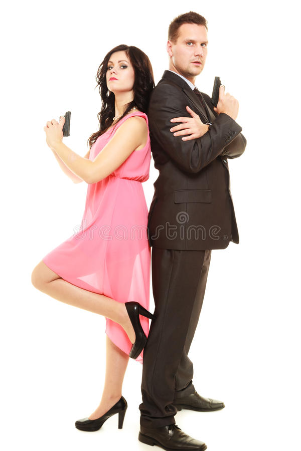 Hemlig utredning med mannen och kvinnan royaltyfri fotografi