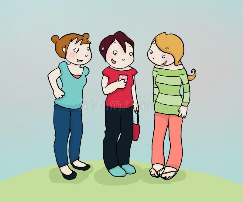 hemliga vänner stock illustrationer