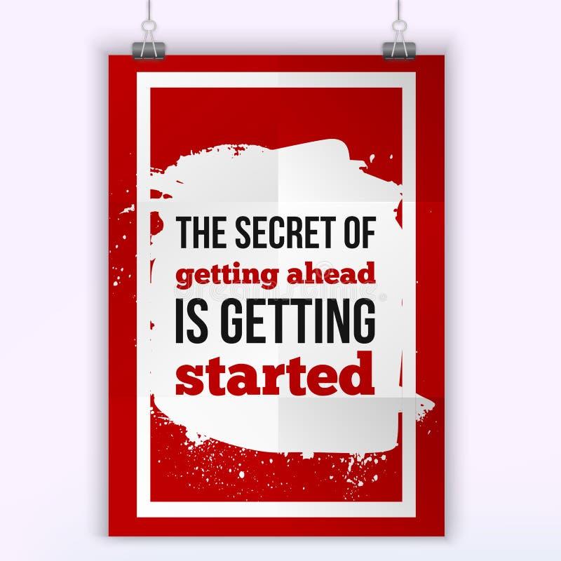 Hemligheten av att få framåt får startad Motivationsegercitationstecken Affischmall för inbjudan, hälsningkort vektor illustrationer