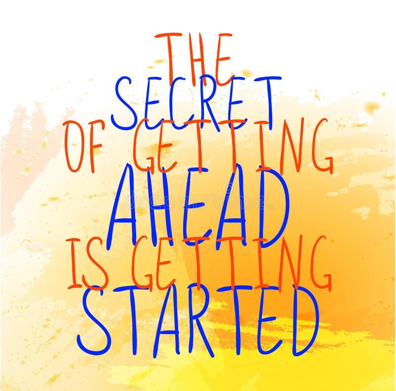 ` Hemligheten av att få framåt får startad `-text på den gula målarfärgfärgstänkbakgrunden Vektor hand-drog bokstäver Apelsin vektor illustrationer