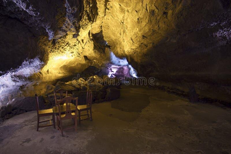 Hemligheten av Cuevaen de los verdes på Lanzarote, kanariefågelöar royaltyfri foto