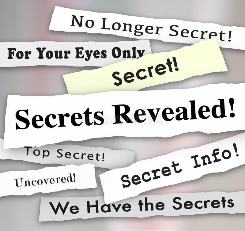 Hemligheter avslöjda rubriker klassificerade förtrolig information royaltyfri bild