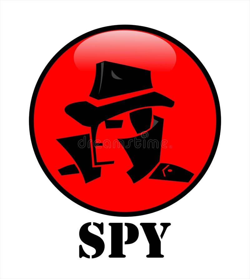 hemligt medel, en hacker, spionmedelhuvud på den röda cirkuleringsknappen stock illustrationer