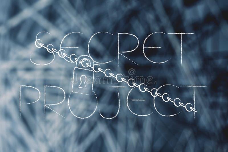 Hemligt projekt med låset och kedjan över nätverksbakgrund vektor illustrationer