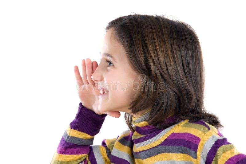 hemligt viska för härlig flicka fotografering för bildbyråer