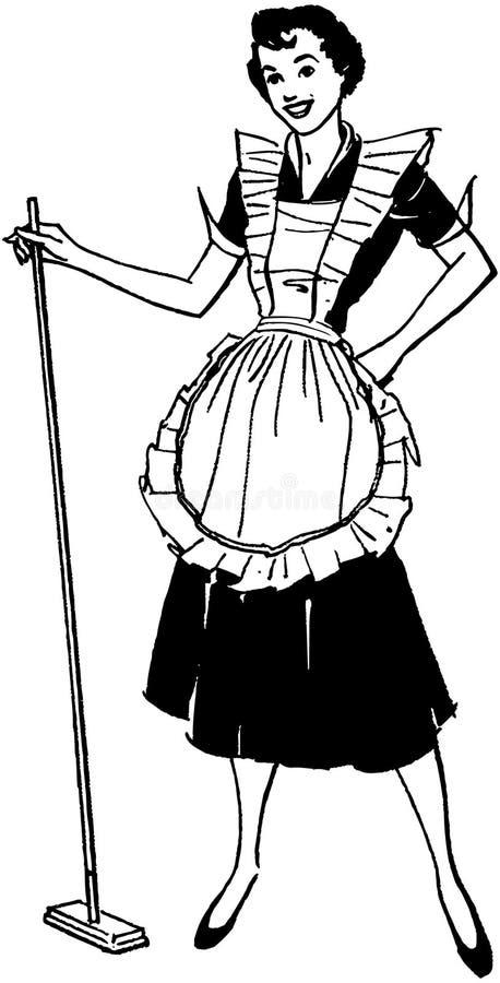 Hemmafru With Broom vektor illustrationer