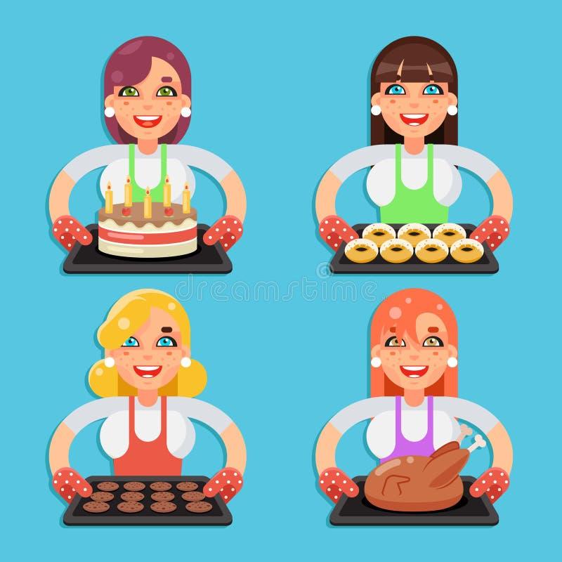 Hemmafru för kalkon för stekt kyckling för kakor för munk för familjreceptkaka med lägenheten för uppsättning för tecken för mat  stock illustrationer
