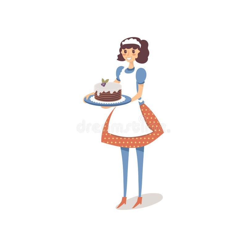 Hemmafru i det vita förklädet som upptill rymmer den hemlagade söta kakan med blåbär Lycklig design för kvinnligt tecken vektor royaltyfri illustrationer