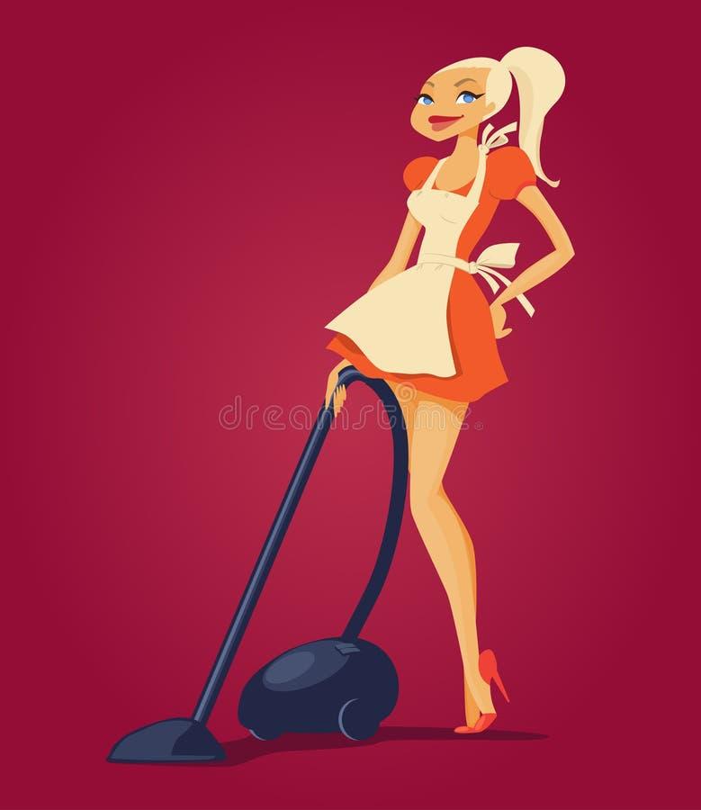 Hemmafru Mopping Floor med dammsugare stock illustrationer