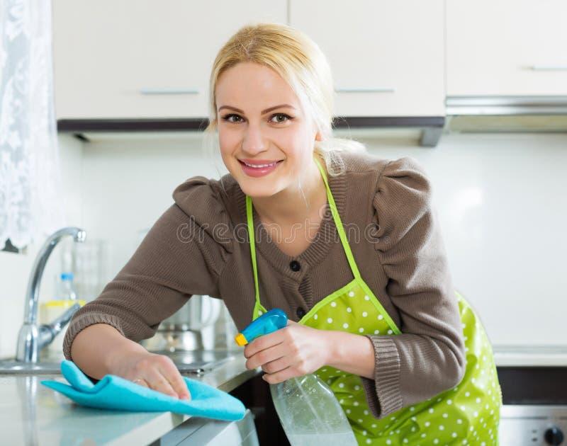 Hemmafrulokalvårdmöblemang i kök fotografering för bildbyråer