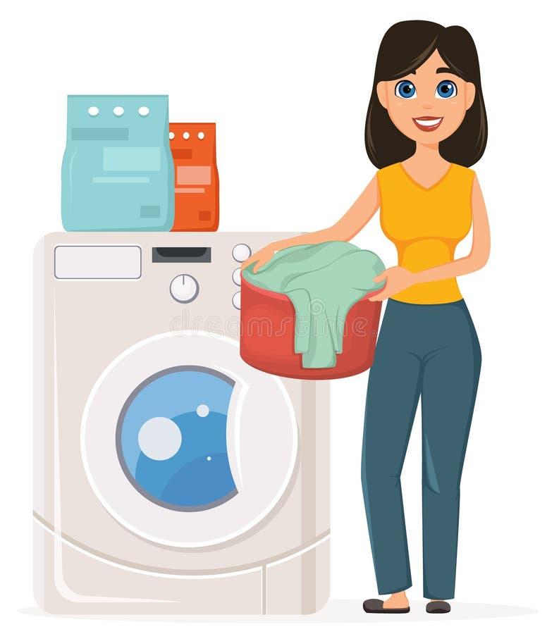 Hemmafruwasheskläder i tvagningmaskinen Den nätta kvinnan gör royaltyfri illustrationer