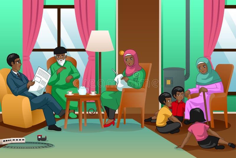 Hemmastadd illustration för afrikansk muslimsk familj royaltyfri illustrationer