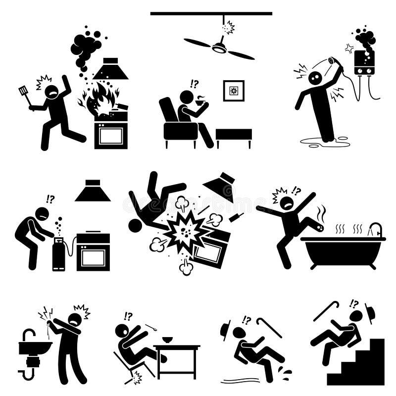 Hemmastadd säkerhetsfara stock illustrationer