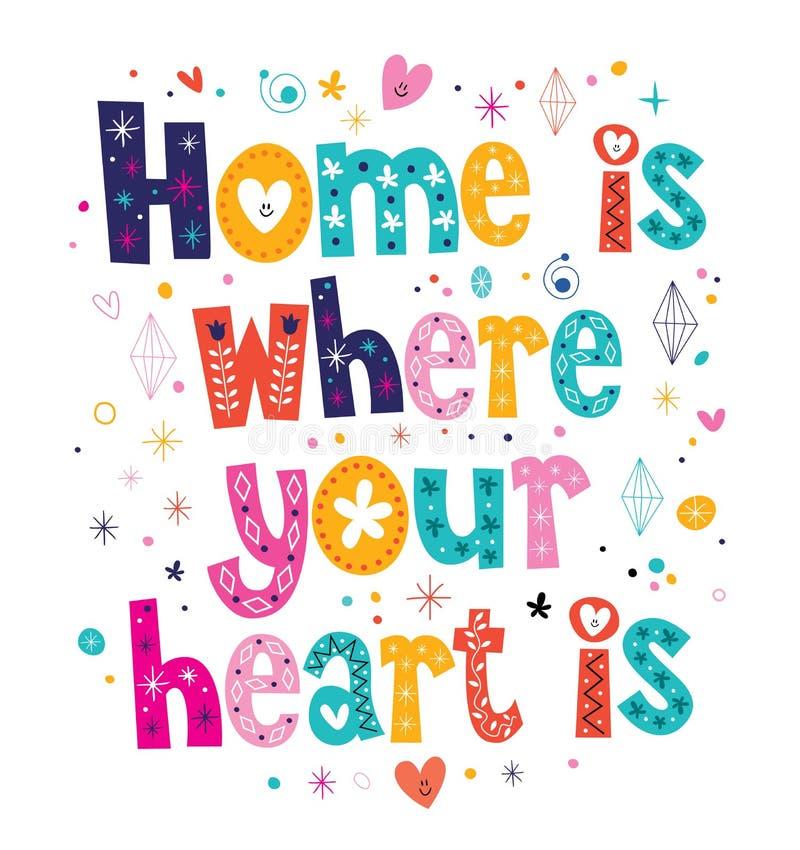 Hemmet är var din hjärta är citationstecknet vektor illustrationer