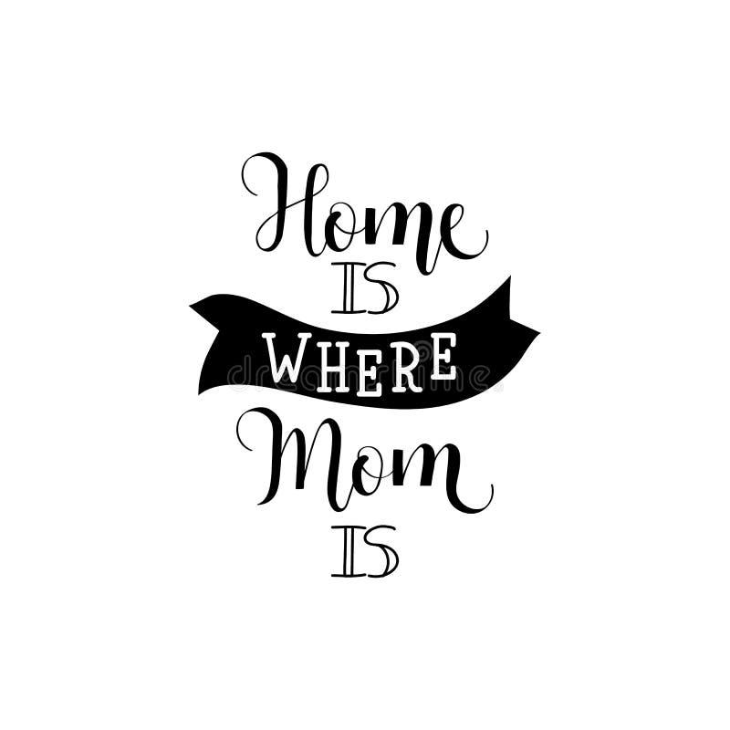 Hemmet är var din mamma är bokstäver dagmamma s Modern handbokstäver och kalligrafi För hälsningkort affisch vektor illustrationer