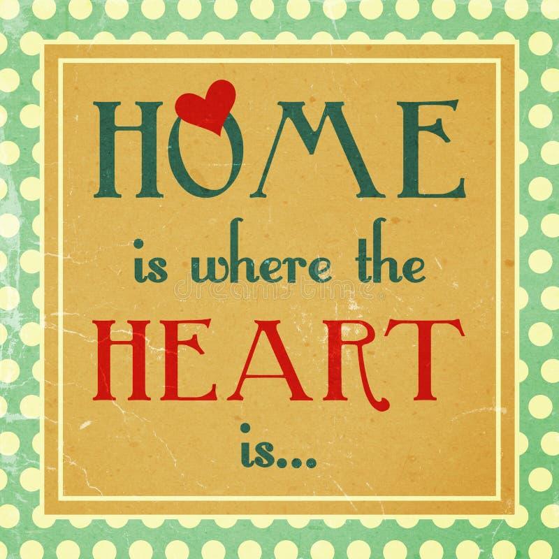 Hemmet är var hjärta är royaltyfri illustrationer