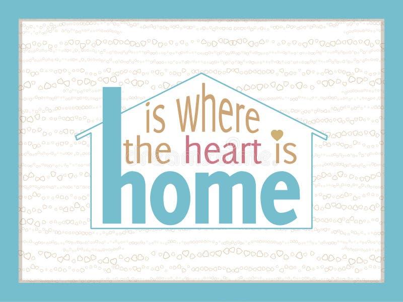 Hemmet är var hjärtan är stock illustrationer