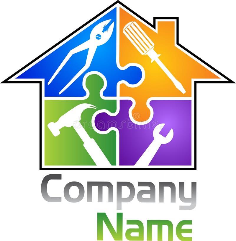 Hemmet bearbetar logo stock illustrationer
