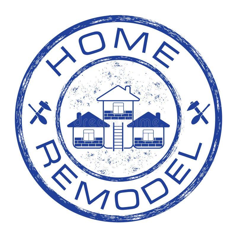 Hemmet omdanar stämpeln Logo för husreparationsföretag på grungebakgrund royaltyfri illustrationer