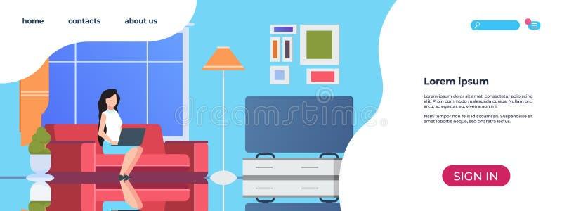 Hemmiljö som landar sidan Kvinna som använder den avkopplade flickan för bärbar datorlivsstil som sitter på soffan Website för ve stock illustrationer