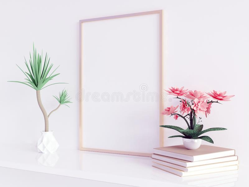 Hemmiljöaffischåtlöje upp med den fyrkantiga metallramen och växter i krukor på vit väggbakgrund 3d som fäster den lätta redigera vektor illustrationer