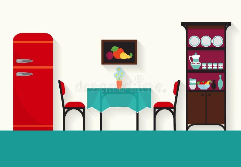 Hemmiljödesign för kök och vardagsrum vektor illustrationer