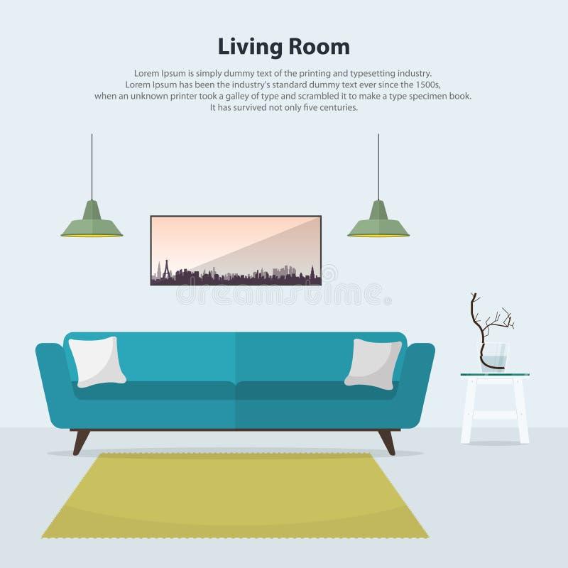 Hemmiljödesign Modern vardagsruminre med den blåa soffan vektor royaltyfri illustrationer