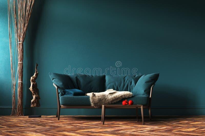 Hemmiljömodell med den gröna soffan, repgardiner och tabellen i vardagsrum arkivbild