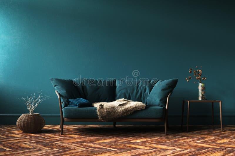 Hemmiljömodell med den gröna soffan, tabellen och dekoren i vardagsrum royaltyfri foto