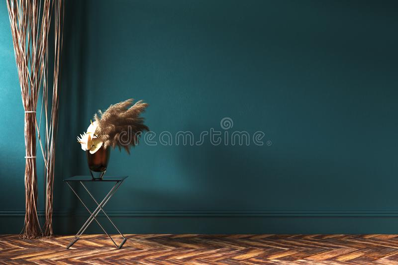 Hemmiljömodellen med repet hänger upp gardiner och buketten av torkade blommor på tabellen stock illustrationer