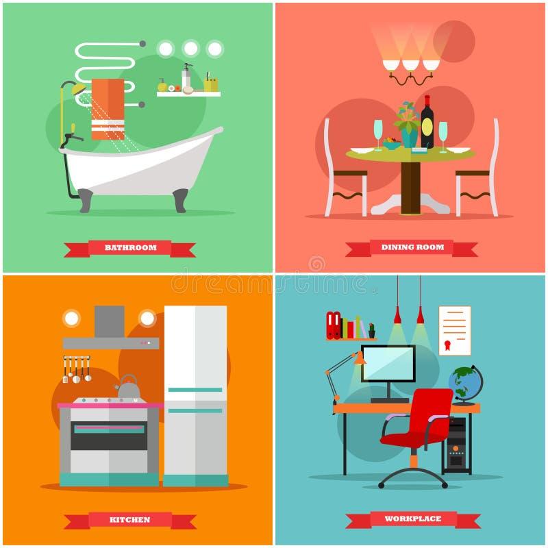 Hemmiljövektorillustration i plan stil Inhysa designen med möblemang, kök, badrummet, matsal, arbetsplats royaltyfri illustrationer