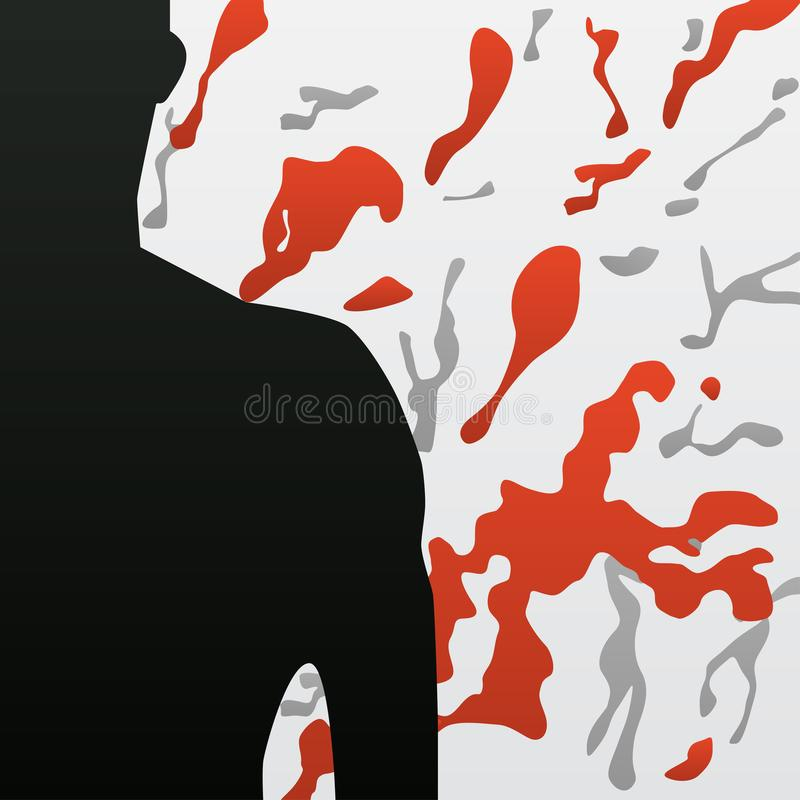 Hemophilia, cancer, aids. Pain and blood. Abstract pattern with man. Illustration. Vector card. vector illustration