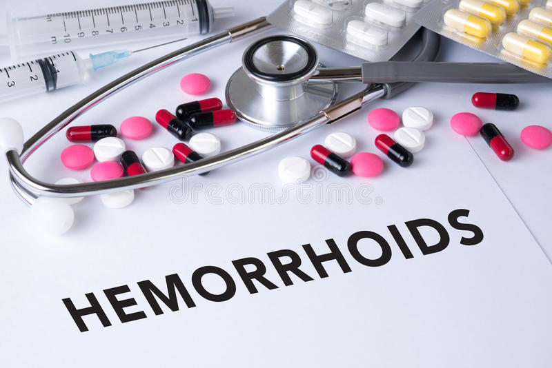 HEMORRHOIDS. Background of Medicaments Composition, Stethoscope, mix therapy drugs doctor flu antibiotic pharmacy medicine medical stock photo