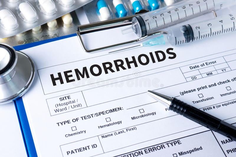 HEMORRHOIDS CONCEPT Diagnosis - Hemorrhoids. Medical Report with. Composition of Medicaments stock images