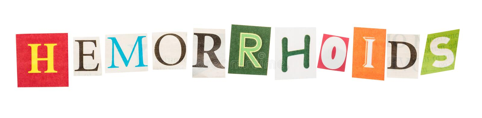 Hemorrhoids cut out of letters. Word hemorrhoids cut out of letters set stock images