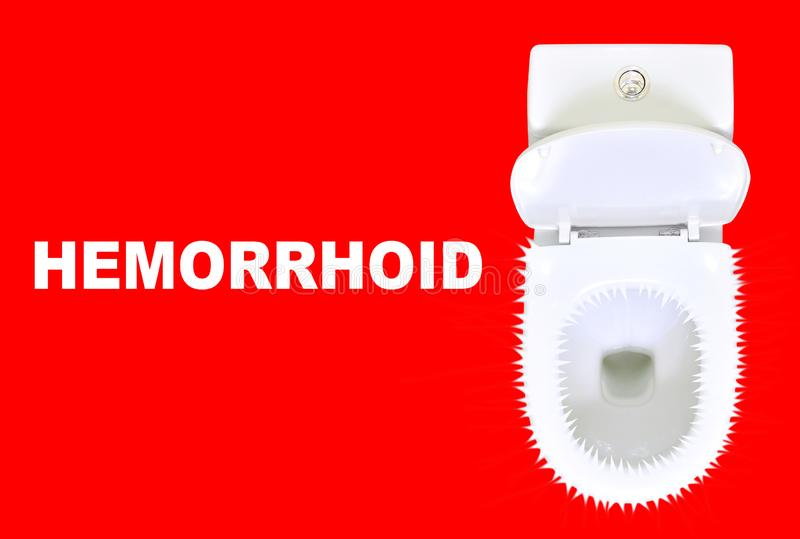 Hemorrhoids problem concept. White ceramic toilet with spikes on a red background and `Hemorrhoid` title. Hemorrhoids problem concept. White ceramic toilet with royalty free stock photography