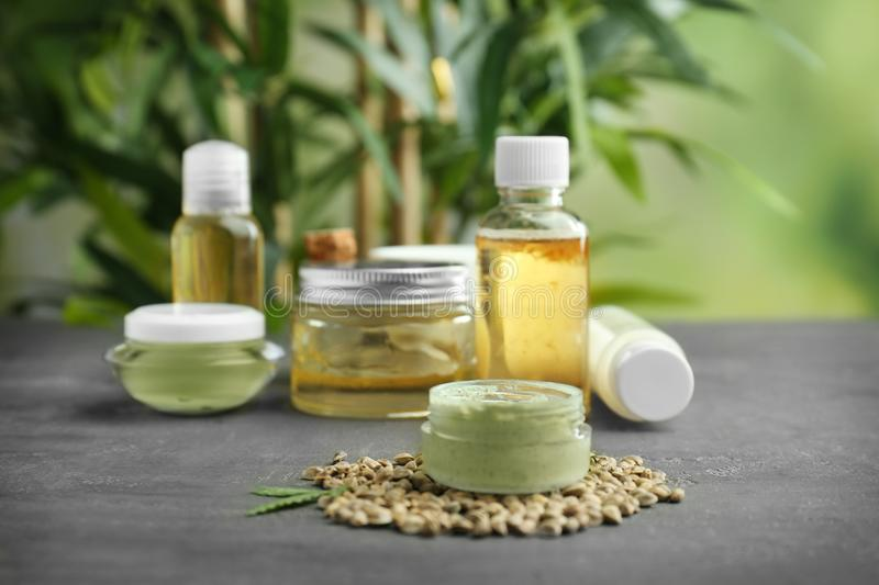Hemp cosmetic products and seeds royalty free stock photo