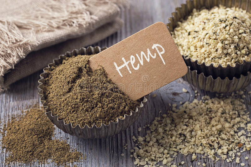 Hemp flour and seeds royalty free stock photos