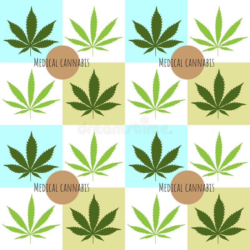 Hemp låter vara den seamless modellen Medicinskt cannabisbegrepp royaltyfri illustrationer