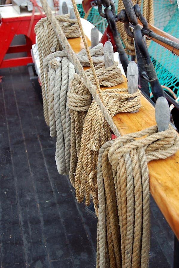 Hemp ropes stored on a ship royalty free stock photography