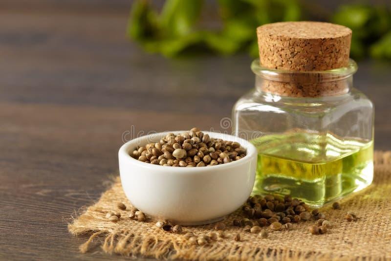 Hemp seeds and oil stock image