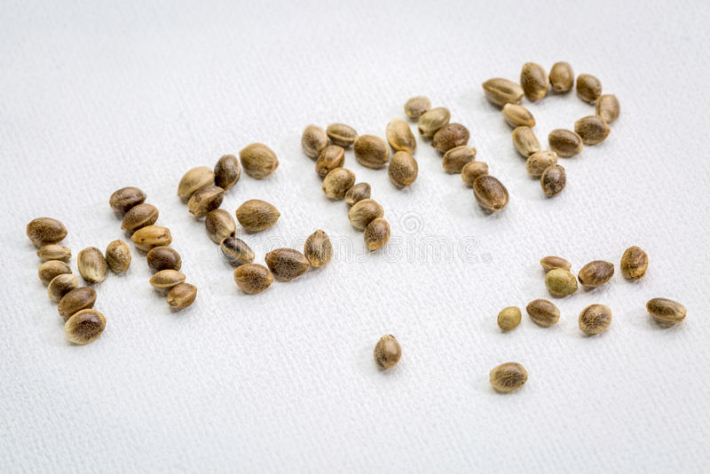 Hemp seeds word on canvas royalty free stock image
