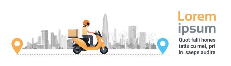 Hemsändning jordlott för mankurirRiding Motorcycle With ask över horisontalbakgrund för konturstadsbyggnader stock illustrationer