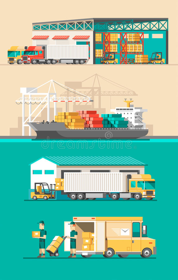 Hemsändningbegrepp Behållarelastfartygpäfyllning, lastbilladdare, lager vektor illustrationer