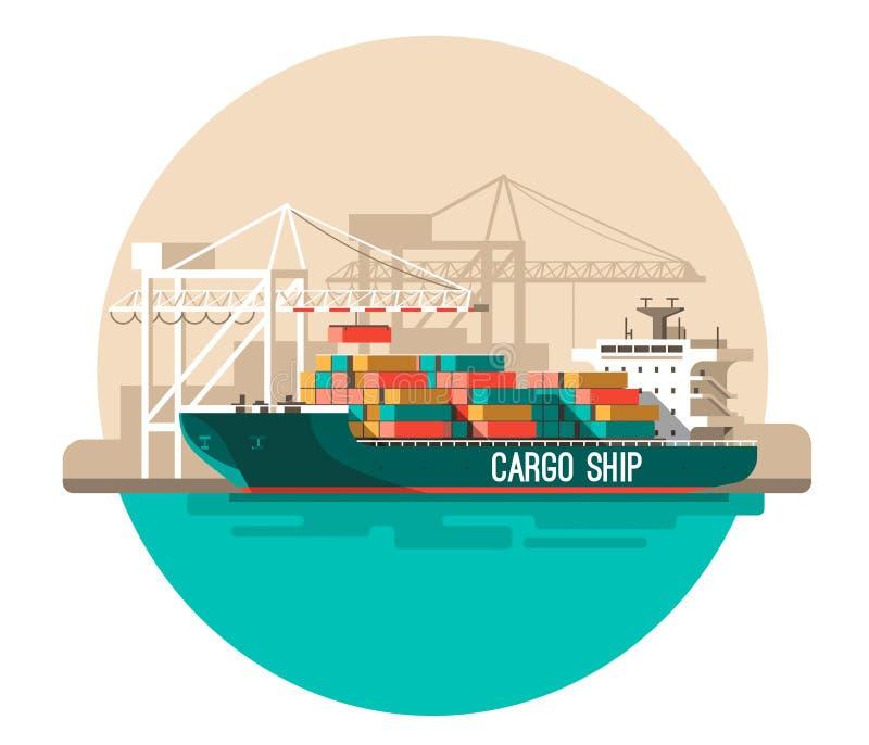 Hemsändningbegrepp Behållarelastfartygpäfyllning, lastbilladdare, lager royaltyfri illustrationer