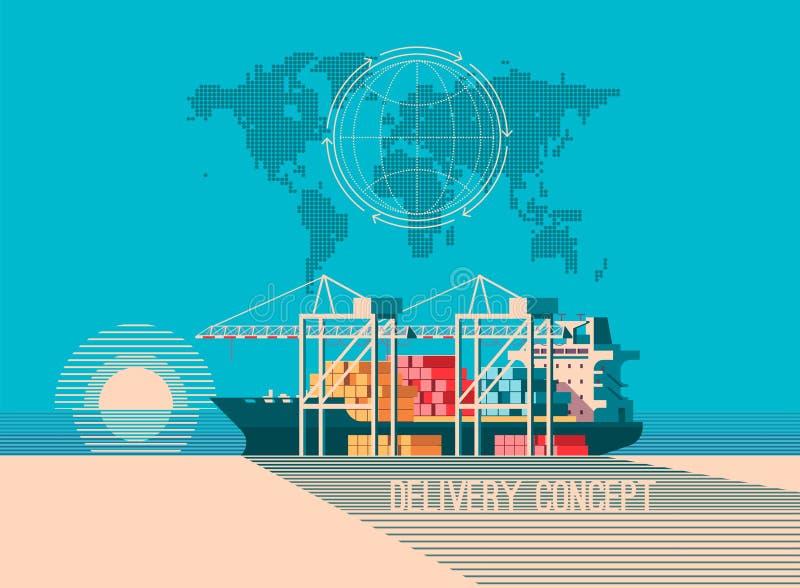 Hemsändningbegrepp Behållarelastfartygpäfyllning, lastbilladdare, lager Plan stilillustration stock illustrationer