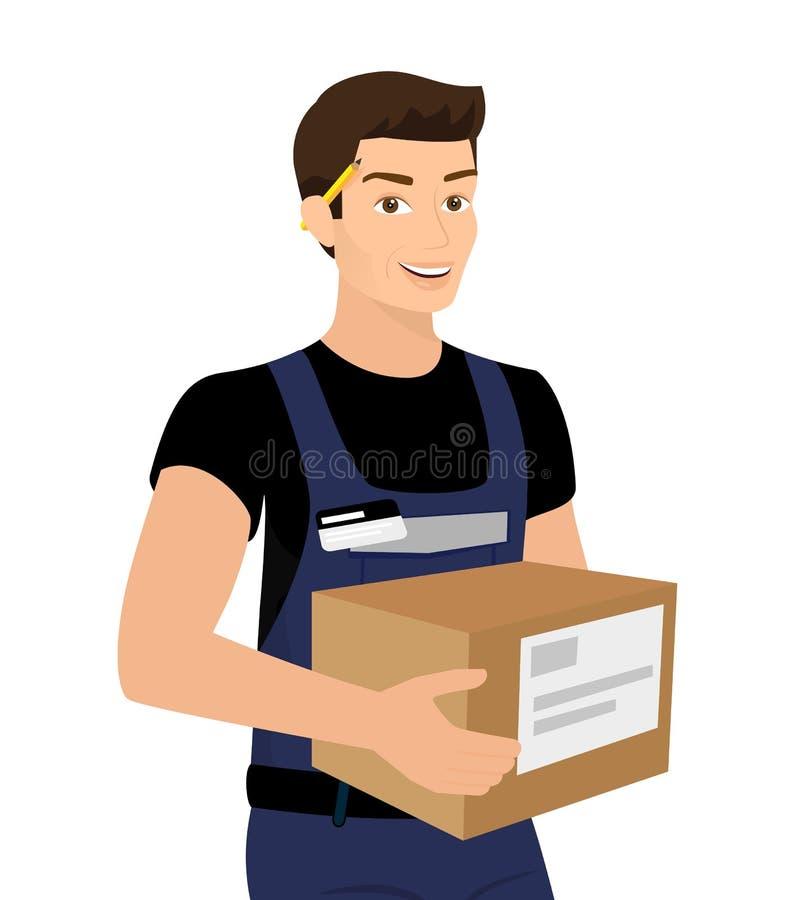Hemsändningman med en ask i hans händer vektor illustrationer